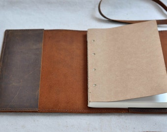 Personalized  handmade Leather Journal,Refillable Leather Sketchbook, book cover  ( Free stamp)