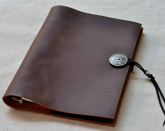 Leather Journal Notebook or Sketchbook ,leather replaceable notebook(Free Stamp)