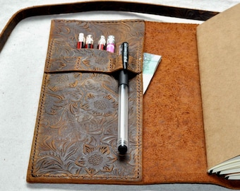 Refillable personalized  Leather Journal notebook gift  ( free initials )