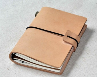 Leather travel journal Traveler's Notebook cover(free stamp)