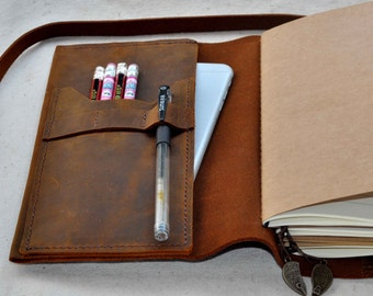 Refillable Leather travel Journal leather journal ( free initials )