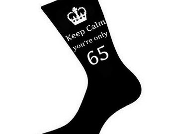 Mens Keep Calm Youre Only 65 Socks A Fun Unique 65th Birthday Gift Idea For Brother Husband Friend Relative Various Colours
