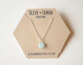 Aquamarine Necklace - Sterling Silver Gemstone Necklace - Delicate Aquamarine Necklace - March Birthstone Necklace - Dainty Necklace