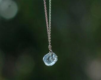 Aquamarine Necklace - Sterling Silver Aquamarine Necklace - Circle Gemstone Necklace - March Birthstone - Chunky Aquamarine Necklace