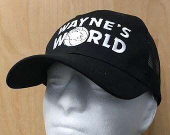 Wayne s World Trucker Hat Wayne Campbell Baseball Cap Halloween Costume  Best Quality TV Show Skit Movie Cosplay 90s Embroidery Gift Idea 7fbc72dca2e6