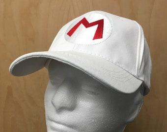 e8fc3e3e3e7 Mario Hat White Baseball Cap Halloween Costume M Super Cosplay Video Game  Kart Cart 80s 90s Gamer Logo Embroidery Gift Idea