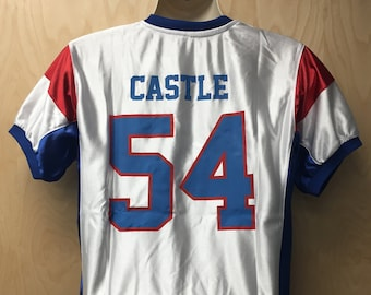 Thad Castle Football Jersey Mountain Goats Uniform Halloween Costume Shirt  TV Show State Team Player  54 54 White And Blue Gift Idea d61351d79