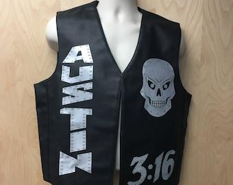 austin 316 vest stone cold costume steve skulls leather professional wrestler pro wrestling halloween costume 90s 00s adult mens gift idea