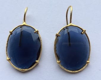 Blue Stone Silver Earrings.