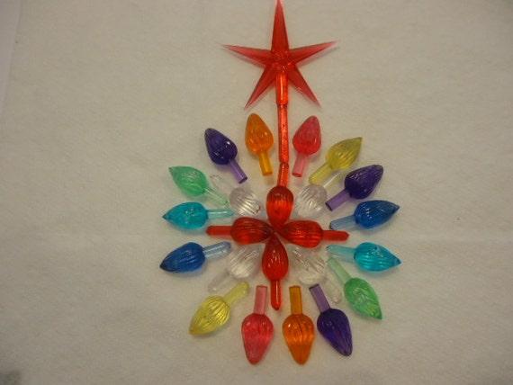25 Mini Mixed Colored Twist Light Bulbs Peg for Ceramic Christmas Tree
