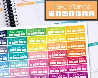 Vitamin Tracker Planner Stickers to be used with Erin Condren LifePlanner (ECLP), Happy Planner - Half Inch, 40 Stickers (#6036)