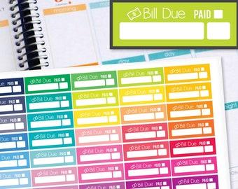 Planner Stickers Erin Condren Life Planner (Eclp) - 40 Bill Due Budget Tracker Money Stickers (#6027)
