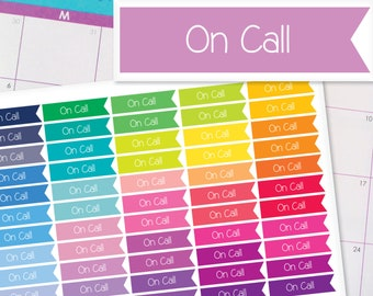 On-Call Flag Planner Stickers To Be Used With Erin Condren LifePlanner (ECLP), Happy Planner - 55 Stickers  (#7024)