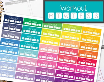 Workout Gym Habit Tracker Planner Stickers to be used with Erin Condren LifePlanner (ECLP), Happy Planner - Half Inch, 40 Stickers (#6086)