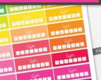Gym Habit Tracker Planner Stickers to be used with Erin Condren LifePlanner (ECLP), Happy Planner - Half Inch, 40 Stickers (#6085)