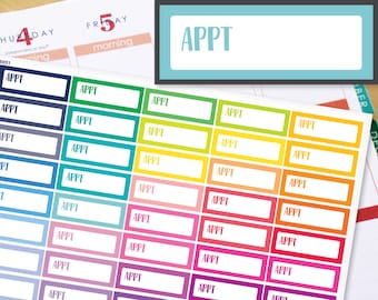 Appointment Appt Quarter Boxes Planner Stickers Erin Condren Life Planner (ECLP) - 40 Appointment Stickers (#6051)