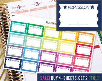 Event Tickets Planner Stickers to be used with Erin Condren ECLP, Happy Planner, Recollections (#1013)