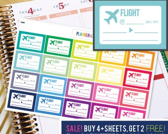 Flight Airplane Planner Stickers to be used with Erin Condren ECLP, Happy Planner, Recollections (#1020)