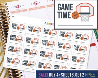 Basketball Game Time Planner Stickers to be used with Erin Condren ECLP, Happy Planner, Recollections (#1025)