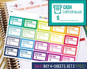 Cash Withdrawl ATM Budget Planner Stickers to be used with Erin Condren ECLP, Happy Planner, Recollections (#1024)