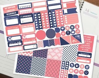 Navy & Pink Mini Kit - Weekly Planner Stickers for Erin Condren Vertical, Medium Recollections, Medium Happy Planner (#9037)