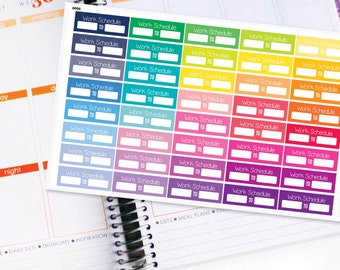 Planner Stickers Erin Condren Life Planner (ECLP) - 40 Work Schedule Stickers (#6006)