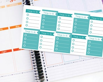 Planner Stickers Erin Condren Life Planner (ECLP) - 10 Full Box Teal To Do List Stickers (#4002)