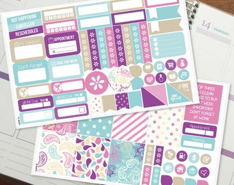 Purple Blue Paisley Mini Kit - Weekly Planner Stickers for Erin Condren Vertical, Medium Recollections, Medium Happy Planner (#9041)