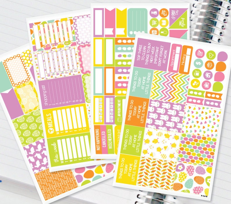 Easter Bright Rainbow Planner Stickers Weekly Kit to be used with Erin Condren Recollections /& Happy Planner #12,015 134 Stickers