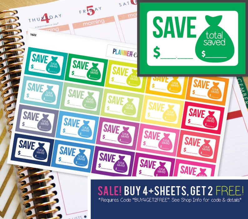 Budget Saving Spending Planner Stickers to be used with Erin image 0