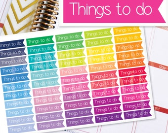 To Do Planner Stickers Erin Condren Life Planner (Eclp) - 55 Things To Do Flag Header Stickers (#7001)