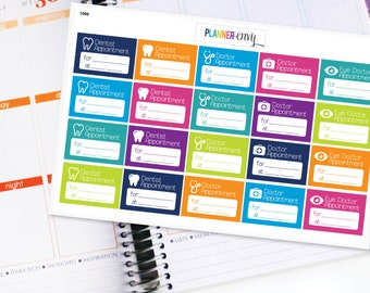 Appointments Planner Stickers Erin Condren Life Planner (ECLP) - 20 Dentist and Doctor Appointment Stickers (#1000)