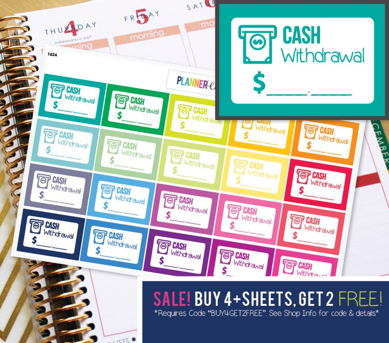 Cash Withdrawl ATM Budget Planner Stickers to be used with image 0