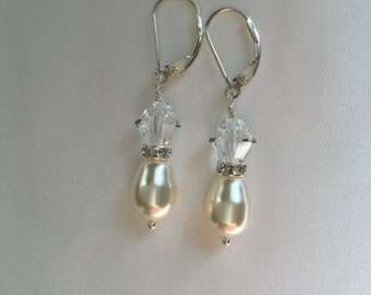 Sterling Silver Swarovski crystal, pearl and diamante handmade earrings