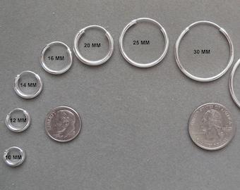925 Sterling Silver Continuous Hoop Earrings - 2 mm X Multiple Diameters