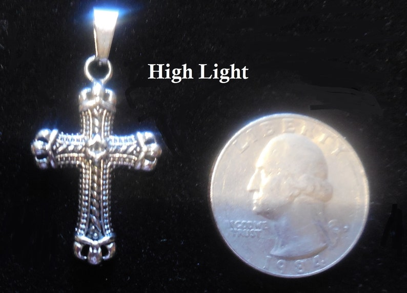Rhodium and Black PVD Plated Stainless Steel Celtic Cross Pendant