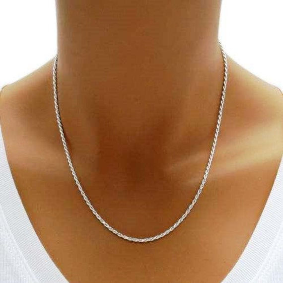 """Sterling Silver 925 Italian Yellow Gold 1.4mm Rope Chain 16/"""" 18/"""" 20/"""""""