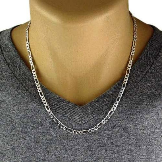 Sterling silver Italian Figaro chain necklace 1.8mm 16 18 20 22 24 30 inch Z09
