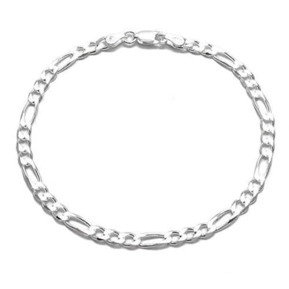 "Solid 925 Sterling Silver 2.2mm Italian Figaro Chain Link Bracelet  7/"" 8/"""