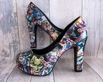1ef6cb12c07769 Harley Quinn Shoes - Joker Shoes - Customised Footwear - DC Comics -  Cosplay Shoes - Geek Shoes - Suicide Squad Shoes - Harley Quinn