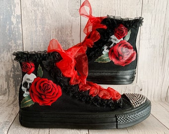 04f01f79688af6 Gothic Converse - Wedding Shoes - Gothic Wedding - Punk Shoes - Skulls and  Roses - Alternative Wedding - Gothic Shoes - Bride Shoes - Goth