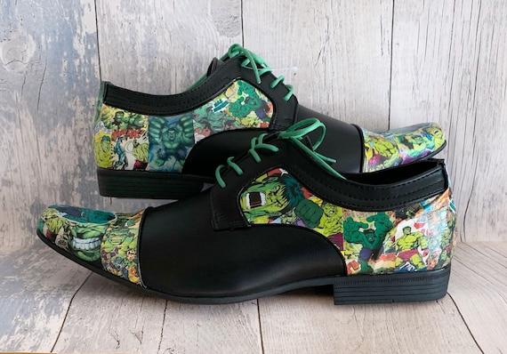 Mens Hulk Shoes Groom Shoes Wedding Shoes Mens Shoes Marvel Shoes The Incredible Hulk Dress Shoes Alternative Wedding