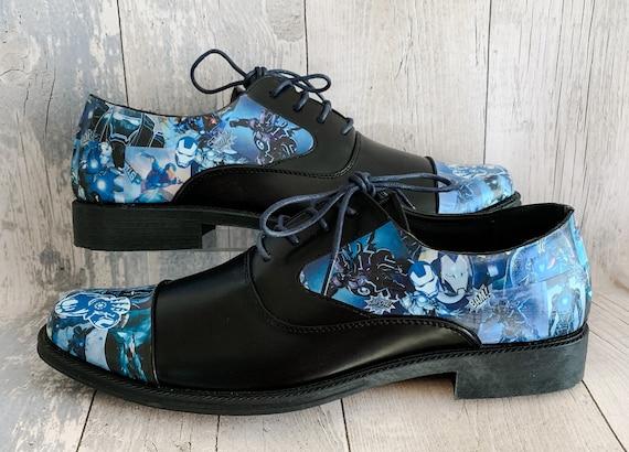Iron Man Blue Mens Marvel Shoes Groom Shoes Wedding Shoes Marvel Shoes Dress Shoes Comic Book Shoes Alternative Wedding