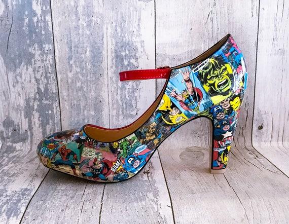 Marvel scarpe donna Marvel Comics Geek Scarpe Cosplay fumetti scarpe su misura Decoupage scarpe scarpe matrimonio alternativo