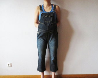 a020de9630d06 Dark Blue Denim Overall Jean Bib Dungarees One Piece Romper Denim Jumpsuit  Maternity Overalls Pregnancy Clothes Size Medium to Large
