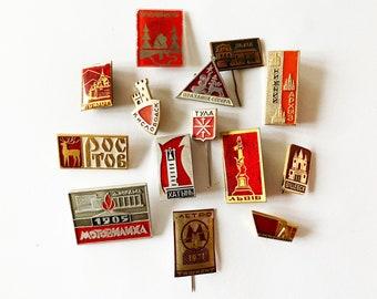 Set of 17 Vintage Sports Pins Soviet vintage badge Rare Sports pins Rare badge Metal pin USSR era Basketball Chess Ice hockey