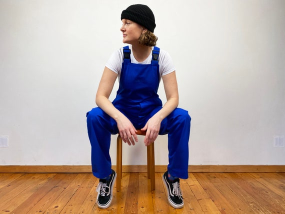 Blue Work Dungarees Vintage 90s Cotton Overalls Bl