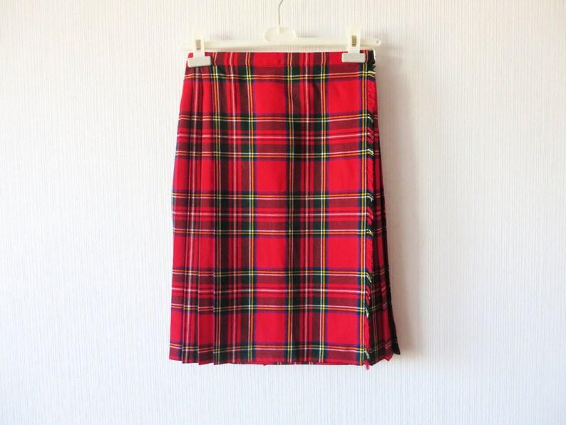 9b471a93f6868 Tartan rouge jupe à carreaux laine Blend écossais Kilt Jupe   Etsy