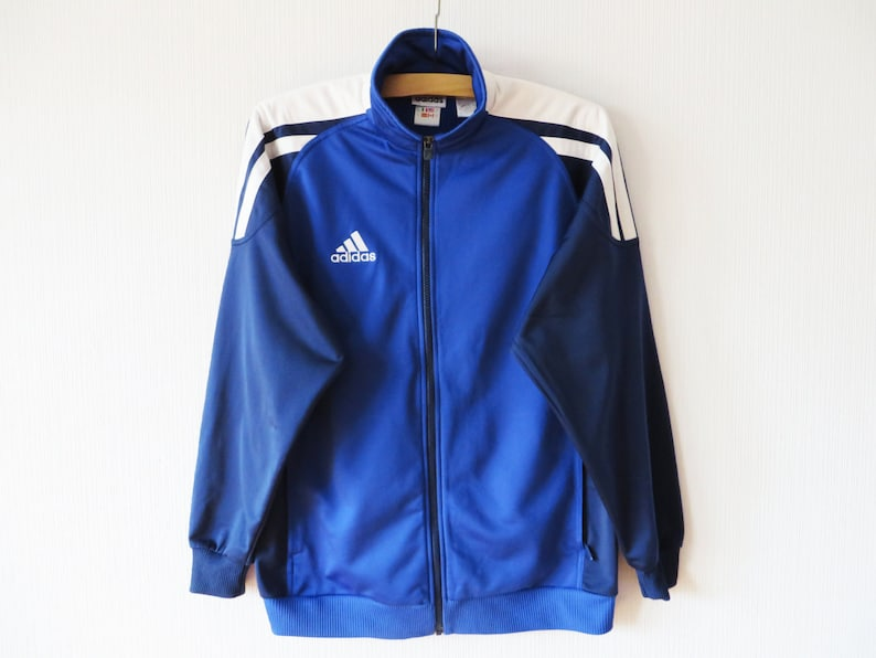 Jahrgang blau ADIDAS Track Jacke Adidas läuft Jacke Jogging Parka Aerobic Jacke Hipster Sport Mantel Unisex drei Streifen Größe XL große