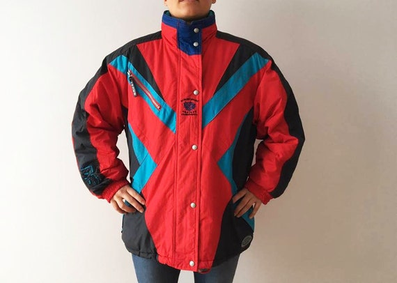Etsy Dhiver Ski Costume Veste Rouge Hipster Colorblock Parka nY0qOUr0